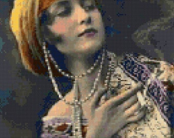 1920s Bohemian Woman Hand Tinted Art Deco Cross Stitch Pattern - PDF Instant Download