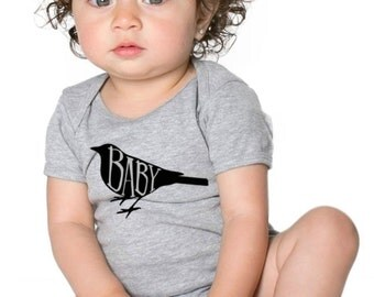 Baby Bird Short Sleeve Onesie/Heather Grey