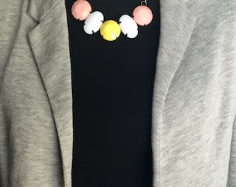 Mutlicolor bead necklace, bead statement necklace