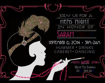 Birthday Hens 'Gatsby Party' Invitation! Digital Printable Files - Personalised To You!!