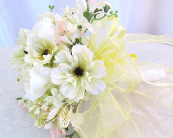 Rose Brides Bouquet, Freesia Wedding Bouquet, White Rose and Coreopsis  Bridal Bouquet, Romantic Cream Rose Bridal Bouquet