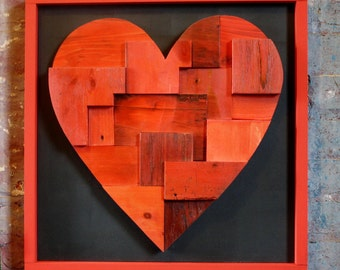 Can't you see I love you - Valentine- wooden art - heart - love - red - urban art - painting