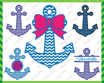 Anchor Chevron Pattern With Bow Monogram Frame SVG DXF PNG eps Nautical Cut Files for Cricut Design, Silhouette studio, Sure Cut A Lot