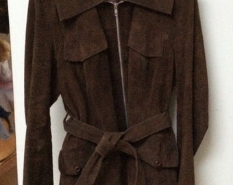 70's Vintage Chocolate Suede Car Coat