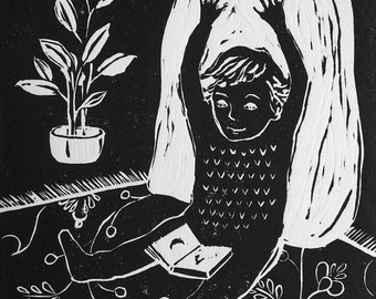 HAPPY DAYS! - Original hand printed limited edition linocut print.