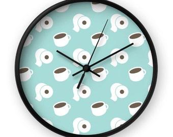 Coffee Clock - Funny Wall Clock - Cute Clock - Cartoon Clock - Coffee Decor - Wall Clock - Hipster Clock - Blue Clock - Coffee Lover Clock