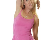 Pink singlet with flared hem, fitted waistline, longer at back with spaghetti straps made with natural fabric