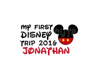 Personalized My First Disney Trip / Cruise Minnie Mickey Disney Pants  Baby 2017 Year 1st Vacation World Iron On Decal Vinyl for Shirt 009