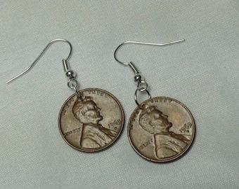 LUCKY PENNY Earrings, Lucky Penny, Dangle Earrings, Vintage Coins, Custom Earrings, Jewelry, Custom Jewelry, lucky, Coin Earrings, 1963