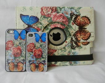 IPAD Air Case/ Cover in Butterfly Design - PU Leather 360deg SleepWake & Matching IPhone Hard Back Case/covers  for IPhone 4/4s/5/5s/6/6Plus