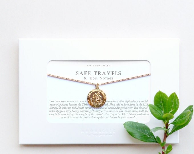 Saint Christopher Necklace | Quote Poem Safe Travels Bon Voyage Long Distance Friends World Travel Lover Travelling Moving Away Goodbye Gift