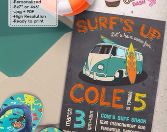 Surf Birthday Party invitations DIY Surf's Up Summer Surf chalkboard Birthday Party printable invite