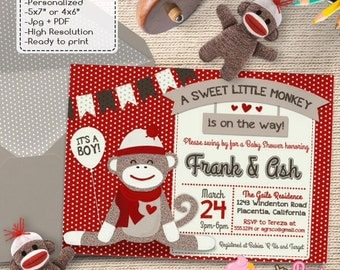 cute sock monkey baby shower invitations red sock monkey diy printable