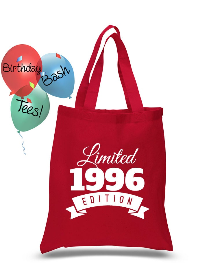 Custom Birthday Gift Tote Bag Limited Edition 1996 21 Year Old Celebration Special