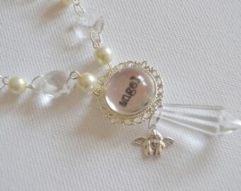 "Necklace ""angel"" resin pendant vintage crystals"