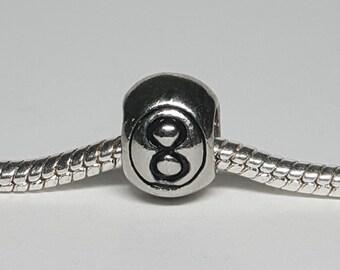 Silver 8 Ball Charm for European Bracelets (item 166)