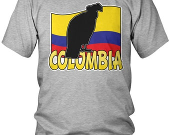 Colombia Country Flag  Men's T-Shirt, Republic of Colombia, Colombian Pride, Bogota, Country Flag Crest, Men's Colombia Shirts AMD_0345