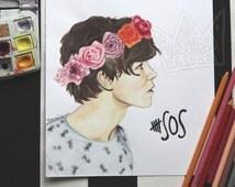 Ashton Irwin 5sos flower Crown painting watercolor - sandradeeart