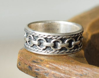 Mens Vintage Circle Link Silver 925 Band, US Size 11.0, Used