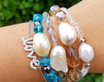 Freshwater pearl and czech beads stretch bracelet