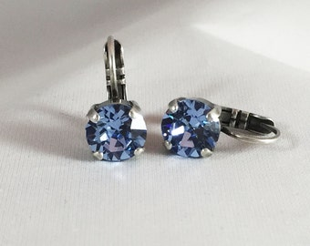 Designer inspired - Swarovski leverback earrings - bridesmaid Swarovski earrings - leverback crystal earring - wedding gift crystal earrings