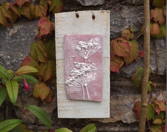 Rustic clay wall art, natural wild flower impression, Queen Anne's lace, clay, pink and white mounted on reclaimed wood