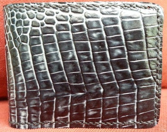 Black Gator Leather Wallet, Alligator Embossed Leather Wallet, Soft Slim Wallet, 4 CreditCard/4 Pocket Leather Interior