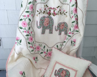 Baby Girl Quilt, Elephant Quilt, Vintage Cloth Quilt,  Hand Embroidery Quilt, Appliqué Elephants, Girl's Quilt, Crib Quilt, Floral Quilt