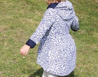Reversible girls jacket - girls coat - toddler jacket - toddler coat - girls hoodie - dress coat - girls clothing - SIZE 0