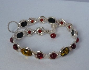 VERY beautiful silver bracelet with two color Baltic amber **** FREE SHIPPING ****