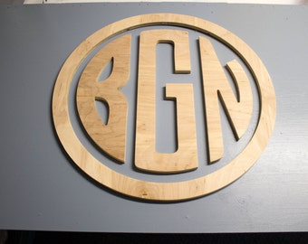 """22"""" Circle Monogram, wood letters with circle ready to paint, FREE Shipping"""