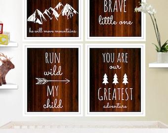 Set of 4 Adventure Art, Adventure Decor, Let Him Sleep, Be Brave, Run Wild, Greatest Adventure, Wall Quote, INSTANT DOWNLOAD