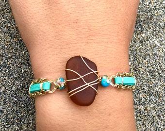 Amber Sea Glass Chain Bracelet