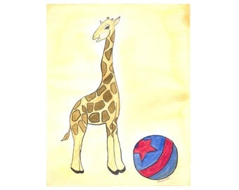 Circus giraffe watercolor nursery art