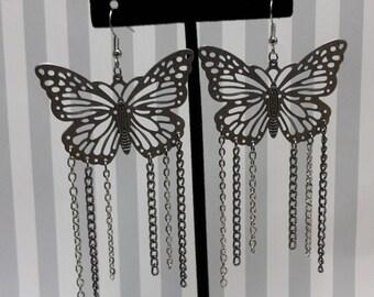 Antique Silver Butterfly Chain Link Earrings
