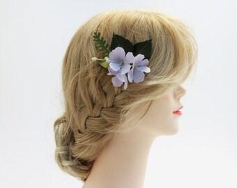 Small Purple Hydrangea Flower Hair Comb - Hair Flowers - Paper Flowers - Bridesmaid Flowers