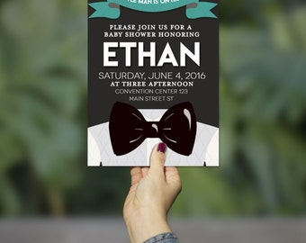 Elegant Bowtie Theme Baby Shower Invitation