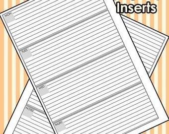 A5 WO2P Horizontal Printable Planner Inserts // UNDATED + PRINTABLE PDF