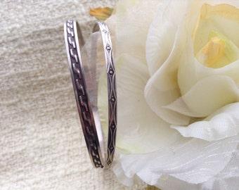 Silver bracelets with Art Deco pattern, vintage bangles