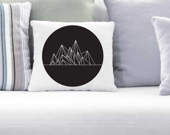 Geometric mountains in a Circle, digital print, Instant Download, Black and White, modern, home decor