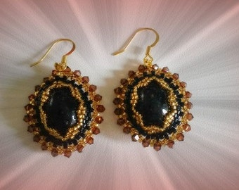 Ethnic earrings in Black Resin Oval Cabochon and mm TOPAZ coloring 18x13
