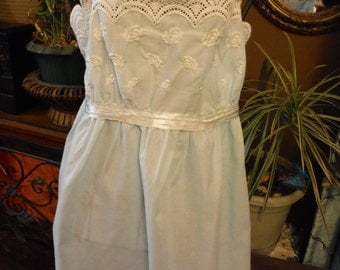 1960 Aristocraft Blue Lace Embroidered Nightgown