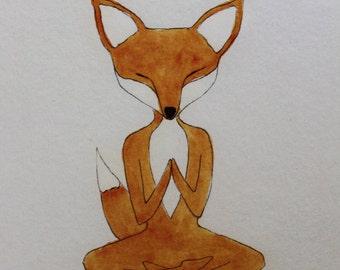 Yoga GIFT CARD - Fox in Lotus Pose