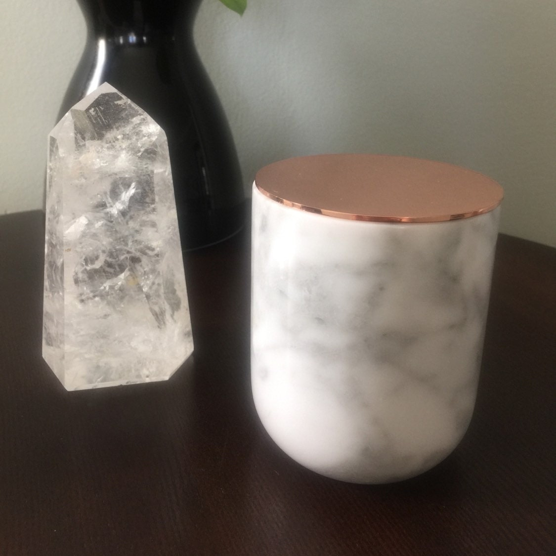 carrara marble jar with copper lid marble cup by maisonjuxli. Black Bedroom Furniture Sets. Home Design Ideas