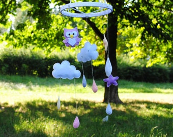 Baby mobile with clouds, stars and lovely owl