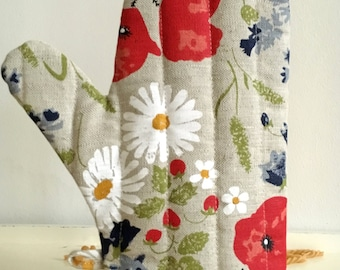 """Diner oven gloves, baking glove, potholders, cooking-mitts """"Flower"""" Linen (12"""" x 5,5""""/8,6""""), Mothers day/fathers day/Easter/gift"""