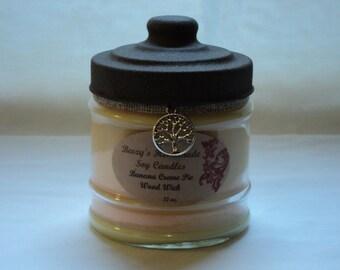 12 oz. Banana Cream Pie Homemade Soy Wood Wick Candle