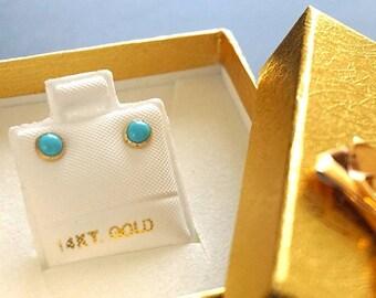 14K Real Gold Earrings, Turquoise earrings, Gold Stud Earrings, Gold Studs, Gold Jewelry, Gold Turquoise Studs, 14k Gold Earrings