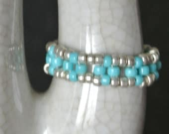 Silver & turquoise beaded ring