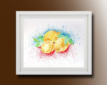 Still Life, Lemon Original Painting, Acrylic on paper, Boba painting